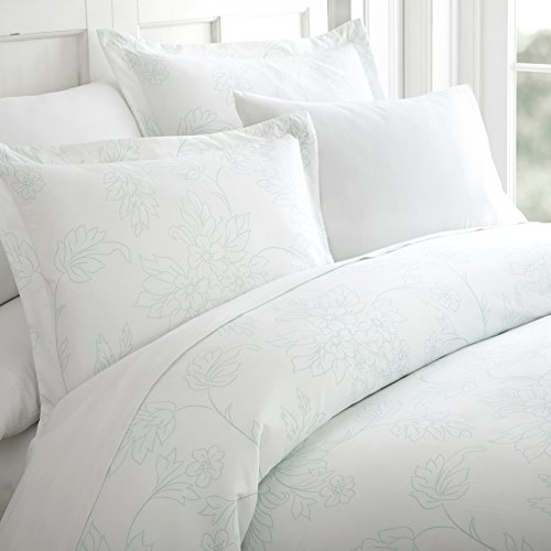 ienjoy Home 3 Piece Vines Patterned Home Collection Premium Ultra Soft Duvet Cover Set, Twin, Aqua