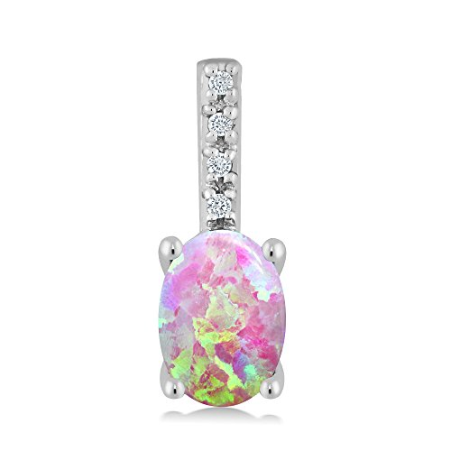 14K White Gold 0.63 Ct Oval Cabochon Pink Simulated Opal Diamond Bail Necklace by Gem Stone King