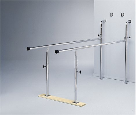 Parallel Bars, Folding, Height And Width Adjustable - Wall-Mounted, Wood Base, 7' L X 22.5