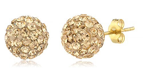 14K Yellow Gold 8mm Preciosa Crystals Stud Earrings with 14k Pushbacks - Avai (GO-30 - Crystal Gold 14k Champagne