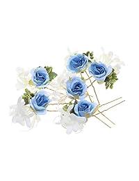 MagiDeal Pack of 6 Bridal Flower Hairpins Rose Hair Stick Wreath Bridal Wedding Accessories