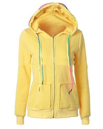 Howme-Women Sweatshirt Relaxed Hoodie Casual Pocket Tops Outwear Jacket Yellow