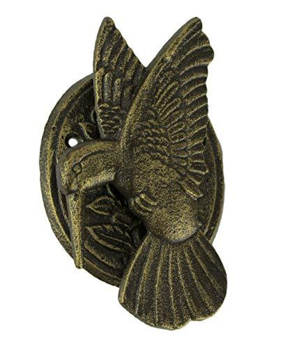 Antique Bronze Cast Iron Hummingbird and Flower Front Door Knocker Entry Decor