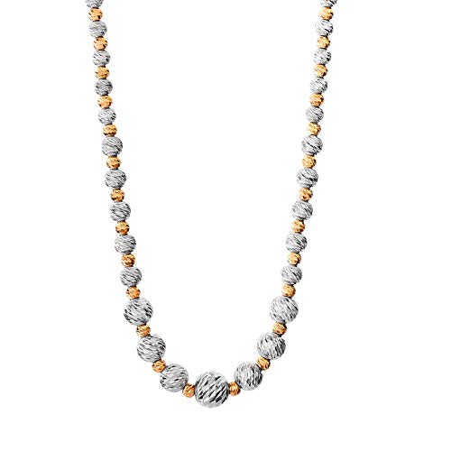 (Ellen Tracy Two Tone Sterling Silver and Pink Gold Plated Bead Necklace)