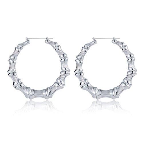 White Bamboo Hoop Earring Hollow Casting Hip-Hop Statement Jewelry for Women Dia (Door Knocker Pierced Earrings)