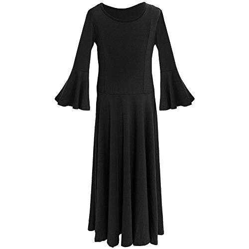 IWEMEK Kids Girls Cotton Long Sleeve Praise Liturgical Loose Fit Full Length Lyrical Dance Dress Ballet Dancewear Costume Black - Bell Sleeve 11-12