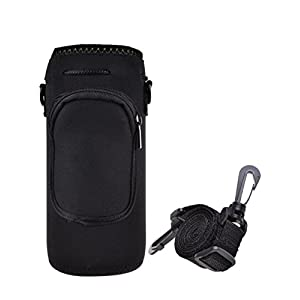 Water Bottle Carrier,Neoprene Water Bottle Holder Adjustable Shoulder strap,Sling Insulated Custom Water Bottle Cover Case Pouch Outdoor Sports for Kid Children Women (black with strap)