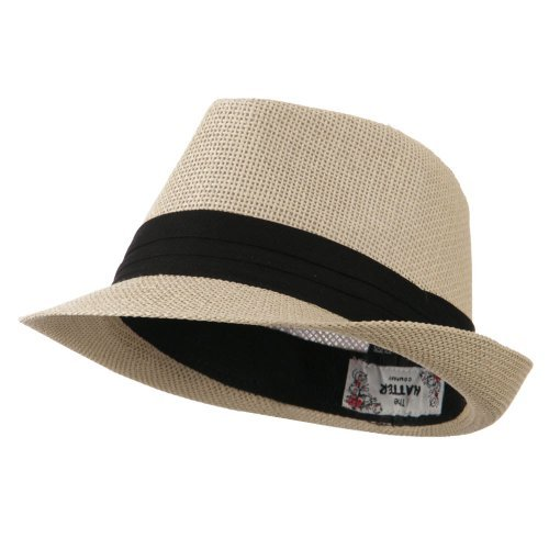 Kid's Paper Straw Black Band Fedora - Tan OSFM