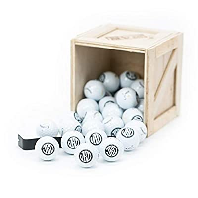 Man Crates Personalized Golf Balls Crate - Includes 30 Monogrammed Golf Balls - Ships in A Sealed Wooden Crate with A Laser-Etched Crowbar - Great Gifts for Men