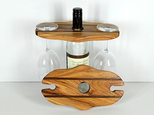 Wine caddy, picnic server, kitchen decor, durable wood bottle rack, travel storage, wood accent caddie, drinking glass carrier, Hickory