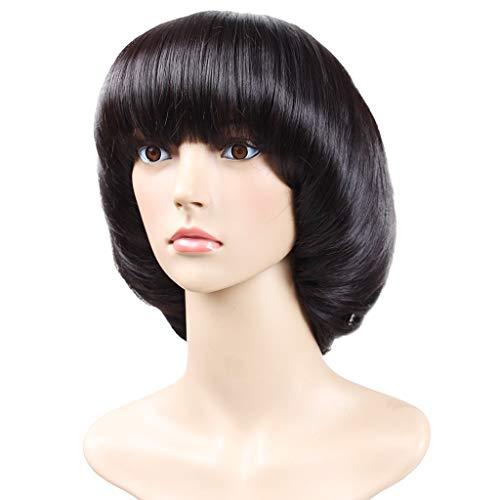 CapsA Synthetic Mushroom Head BOB Brown Black Hair Wig Natural Hair Wigs (Black) -