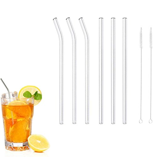 (Clearance Sale!DEESEE(TM)6PC Reusable Glass Smoothie Straws Drinking Straws for Milkshakes Frozen Drinks)