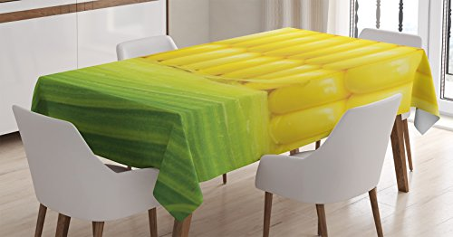 Yellow Decor Tablecloth by Ambesonne, Corn Cob Between Green Leaves Delicious Breakfast Natural Meal Vegetable Theme Art, Dining Room Kitchen Rectangular Table Cover, 60 X 84 Inches (Table Cloth Breakfast)