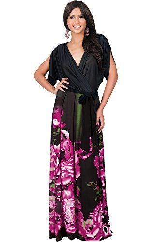 KOH KOH Plus Size Womens Long V-Neck Short Sleeve Floral Print Elegant Flattering Flowy Formal Evening Cocktail Maternity Sun Gown Gowns Maxi Dress Dresses, Pink and Black 4 X 26-28 (3)