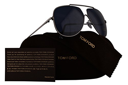 Tom Ford FT0586 Chase-02 Sunglasses Dark Shiny Ruthenium w/Blue Lens 12V TF586 - Sunglasses Tom New Ford