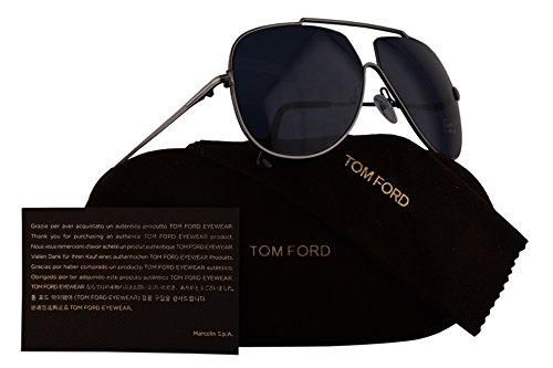Tom Ford FT0586 Chase-02 Sunglasses Dark Shiny Ruthenium w/Blue Lens 12V TF586 - Sunglasses New Ford Tom Collection