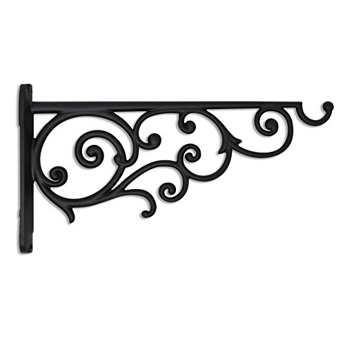 GrayBunny GB-6878B1 Victorian Wall Hook, 14 Inch, Black, For Bird Feeders, Planters, Lanterns, Wind Chimes, As Wall Brackets and More!