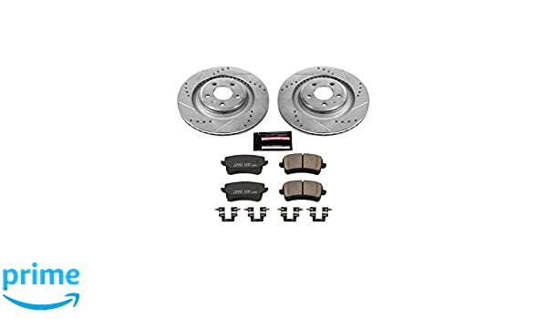 Power Stop K1446 Rear Z23 Evolution Brake Kit with Drilled//Slotted Rotors and Ceramic Brake Pads