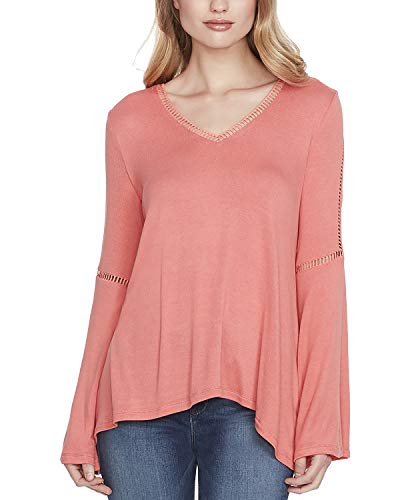Jessica Simpson Scarf - Jessica Simpson Women's Juniors' Bell-Sleeve Lace-Trim Top (Spiced Coral, Small)