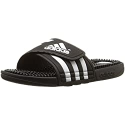 adidas Women's adissage Slide,Black/Black/Running White,7 M US