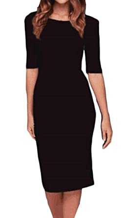 aae7ead3259 M S W Women s 1 2 Sleeve Sexy Back-Zip Mini Slim Fit Party Bodycon Open  Back Dress at Amazon Women s Clothing store