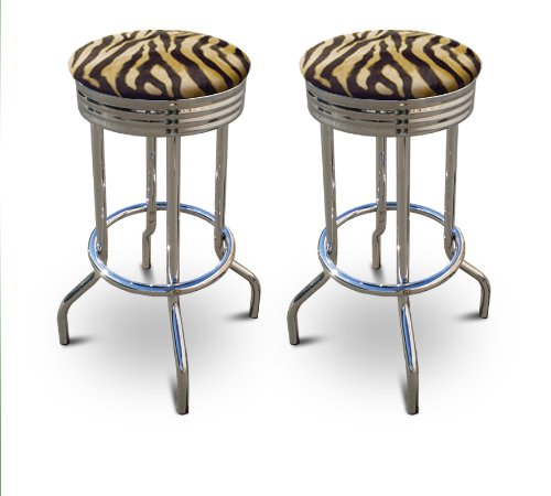 2 Brown Zebra Faux Fur Animal Print Specialty / Custom Barstools Set by The Furniture Cove
