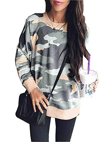 LANREMON Womens Camo Shirts Leopard Printed Sweatshirt Long Sleeve Fashion T-Shirt Casual Loose Pullover Blouse Tops Army Green XL