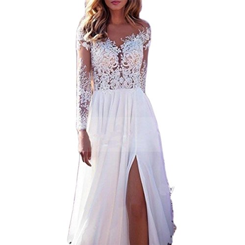 Shushaliying Women's Lace Split Ends Beach Wedding Dress Prom Dress Boho Wedding Gowns Bridal Dresses White,8
