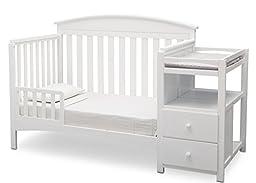 Delta Children Abby Convertible Crib \'N\' Changer, Bianca