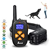 YonRui Dog Training Collar with Remote One Touch Design  Rechargeable Dog Shock Collar with Beep/Vibrating/Shock/Light Collar for Medium Large Dogs(15-100lbs)-IP67 Waterproof …