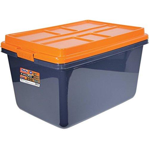 Hefty HI-RISE PRO Heavy Duty Storage Bins, 72 Qt. Latch Storage Box, Orange/Gray