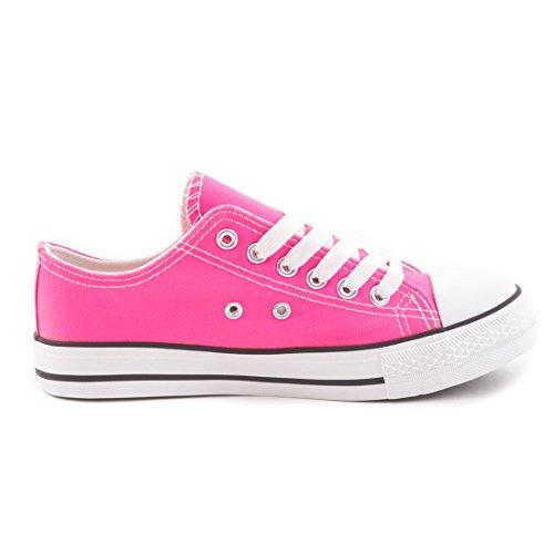 Damen Sneaker Low Top Schuhe Canvas Textil Pink Urban