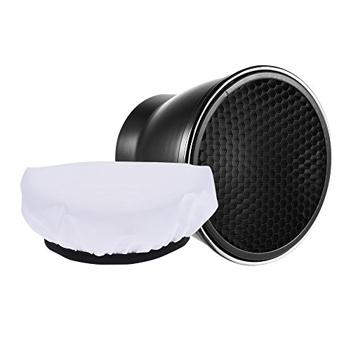 7'' Standard Reflector Diffuser Lamp Shade 96mm Mount with 60 degree Honeycomb Grid for Godox Neewer Strobe Monolight by Qintec