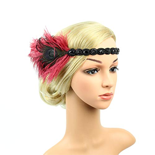 Art Deco 1920s Flapper Feather Headpiece Roaring 20s Great Gatsby Headband for Women Wine Red -