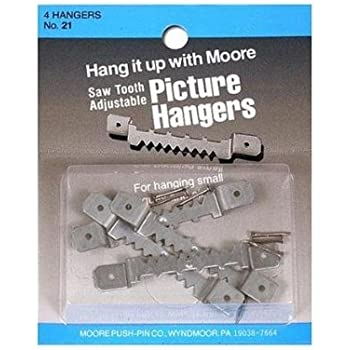 Moore MOR21 4 Piece Hardware Picture Hanger Saw Tooth with Nails, Large