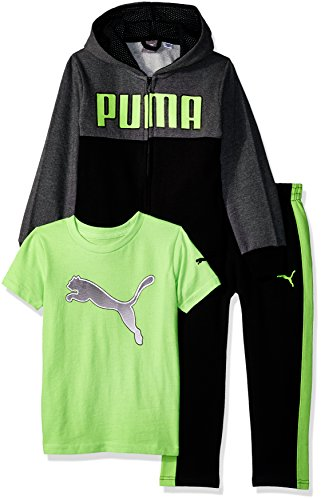 PUMA Toddler Boys' Three Piece Hoodie and Tee Set, Black, 4T
