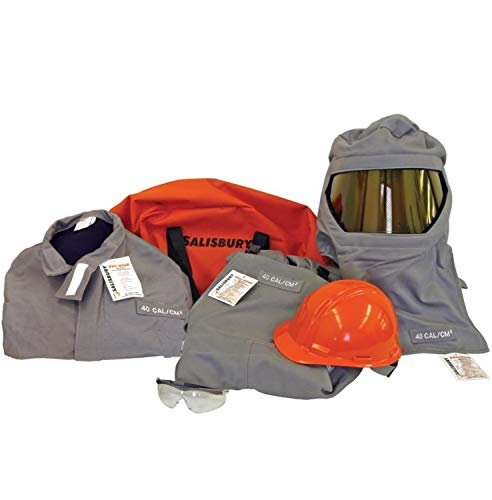 Salisbury by Honeywell 40 Cal ARC Flash Protective Suit KIT Coat BIB Overalls Hood Hard HAT Safety Glasses Storage Bag Size L Gray