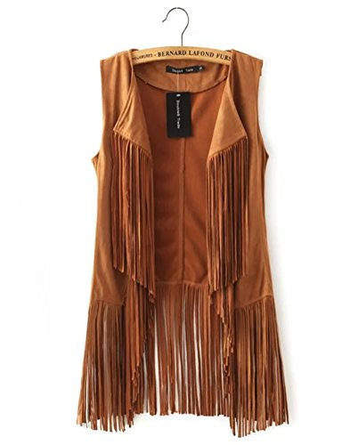 Huafeiwude Womens Fringe Suede Vest Cardigan Waistcoat Jacket Outwear Tops