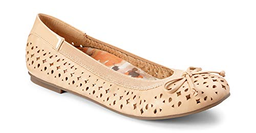 Vionic Women's Spark Surin Ballet Flat - Ladies Flats with Concealed Orthotic Arch Support Nude 7.5W (Best Ballet Flats For Travel Walking)