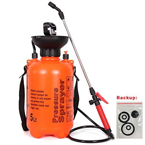 easyum Lawn and Garden 1.3 Gallon Pump Pressure Portable Sprayer, Handheld Mist Spray, with Shoulder Strap 5L ()