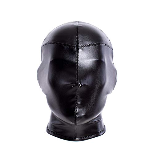 Aaijia Leather Costume Head Mask Hood - Cosplay Black Soft Leather Mask Full Face Mask Nose Holes Breathable Unisex Halloween Masquerade Mask (Male Size) for $<!--$19.99-->