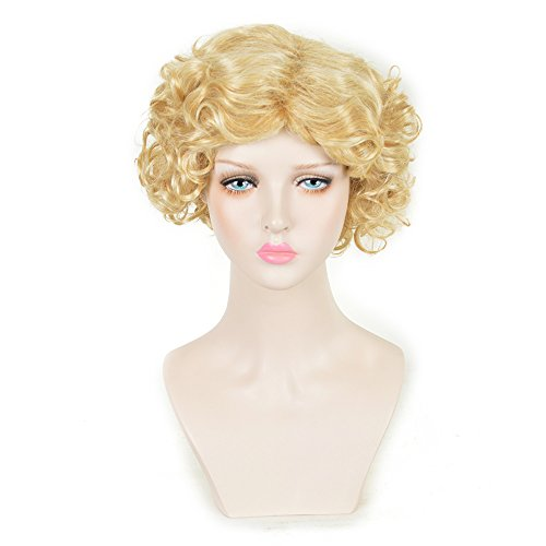 SiYi Short Blonde Curly Wig Wavy Synthetic Heat Resistant Retro Costume 1920s Flapper Wig (Spiky Blonde Wig)