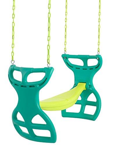 Vinyl-coated glider swing in tones of green.