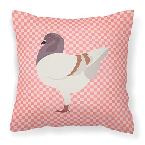 Caroline's Treasures BB7949PW1818 German Modena Pigeon Pink Check Outdoor Canvas Fabric Decorative Pillow, Multicolor (Furniture Modena Outdoor)