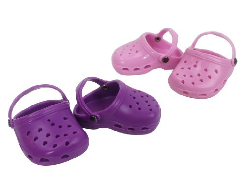 (Dress Along Dolly Doll Shoes for American Girl Dolls: Two Pairs of Purple and Light Pink Sandals)