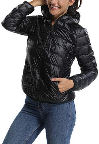 Cappotto Donna Invernale Con Mezza Stagione Trapuntata Giacca Cappuccio Nero Corto Piumino Fittoo A8wvqpf