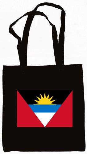 Antigua & Barbuda Flag Canvas Tote Bag Black