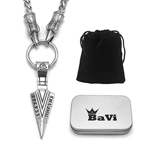 BaviPower Odin's Gungnir Spear Head Pendant Necklace ♦ 316L Stainless Steel ♦ Nordic Scandinavian Viking Jewelry (28, Raven Head Steel Chain)