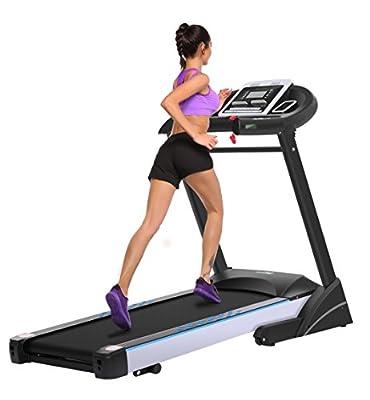 Brinymo Motorized Electric Treadmill, 3HP Folding Running Machine with Phone Mount (US Stock)
