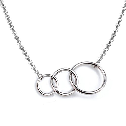 3 Circles Interlocking Together 925 Sterling Silver Necklace Three Generations Grandmother Mom and Child